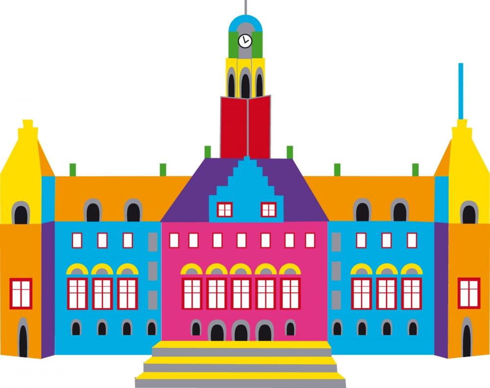 Rotterdam stadhuis gekleurd